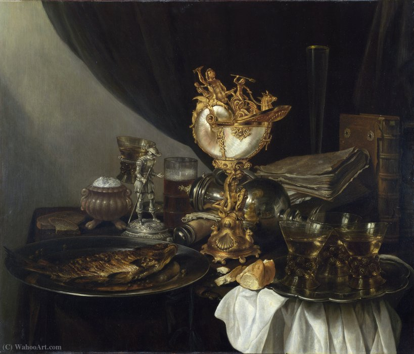 Still life with nautilus (about (London, Nat. Gallery) (1645)) by Gerrit Willemsz Heda | Painting Copy | WahooArt.com