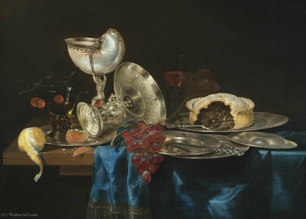 Still life with nautilus, silver tableware and blackberry pie (1646) by Gerrit Willemsz Heda