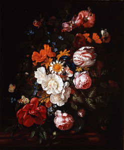 Order Museum Quality Reproductions : Bouquet of flowers in a glass vase (private collection) by Philip Van Kouwenbergh (1671-1729) | WahooArt.com