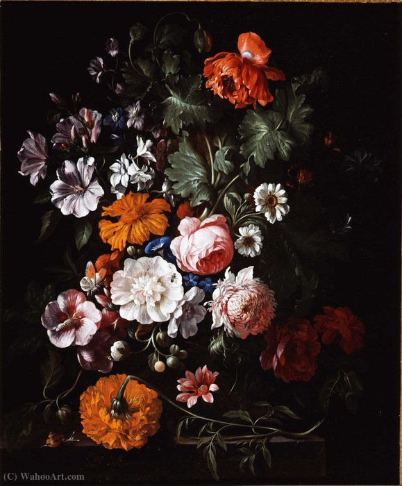 Order Famous Paintings Reproductions : Bouquet of flowers in a vase (private collection) by Philip Van Kouwenbergh (1671-1729) | WahooArt.com