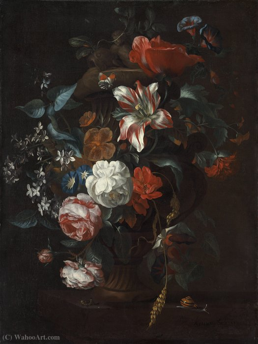 Order Oil Painting : Flowers in a Vase (about (67 x 51) (Washington, Nat. Gallery) (1700)) by Philip Van Kouwenbergh (1671-1729) | WahooArt.com