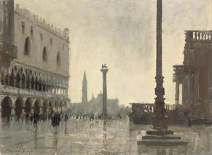 Edward Seago - A winter morning, the doge's palace, venice