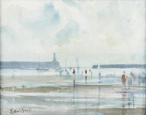 Edward Seago - Figures on a Beach at Low Tide with Harbour Wall beyond