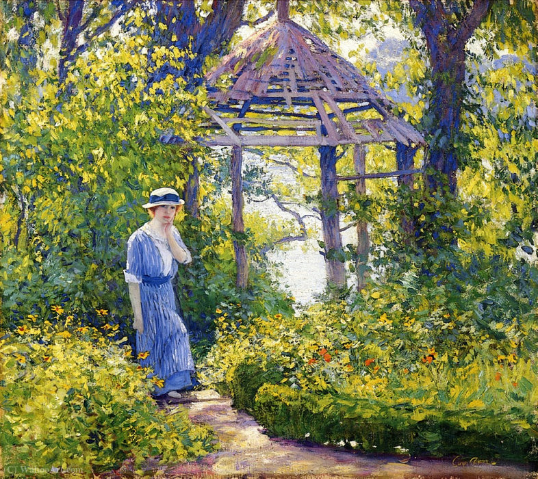Order Art Reproductions | Girl in a Wickford Garden, New England by Guy Rose (1867-1925) | WahooArt.com