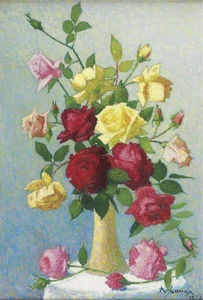 Achille Laugé - Vase of Roses, (1924)