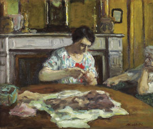 Albert André - Woman sewing, (1925)
