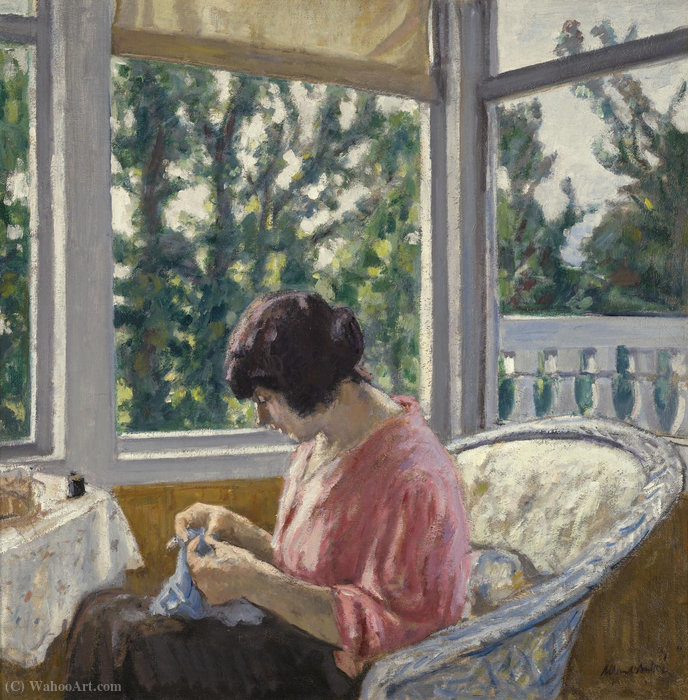 Young woman sewing, (1913) by Albert André (1869-1954)