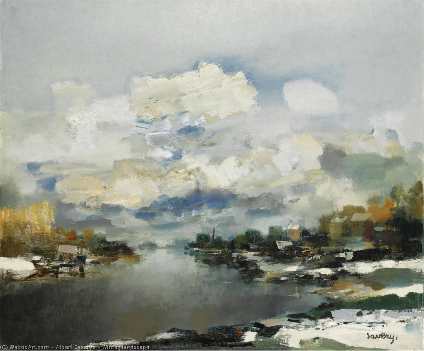 Winter landscape by Albert Saverys | Art Reproductions Albert Saverys | WahooArt.com