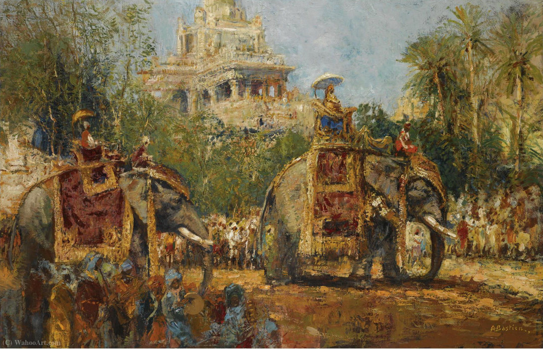 Maharaja and His Elephants at the Procession in the Festival of Dussehra at Mysore by Alfred Bastien (1873-1955) | Art Reproduction | WahooArt.com