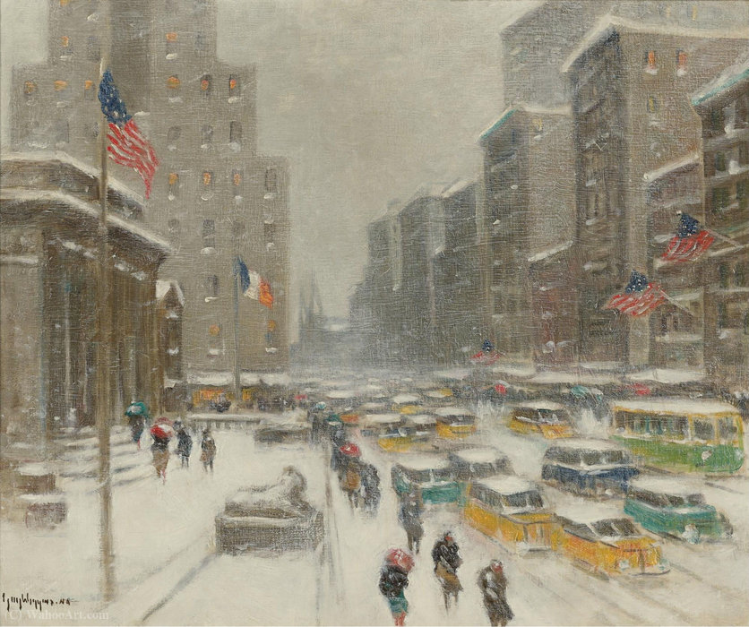 5th Avenue in Winetr by Guy Carleton Wiggins |  | WahooArt.com