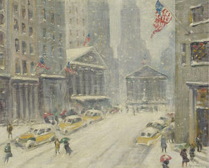 Guy Carleton Wiggins - A View of Broad Street, the New York Stock Exchange and Treasury Building in the Distance