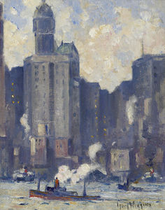 Guy Carleton Wiggins - City Skyline and East River