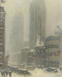 Guy Carleton Wiggins - Heavy Snow Storm on 5th Ave, (1937)