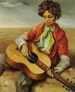 Marcel Dyf - A gypsy boy playing guitar, (1950)