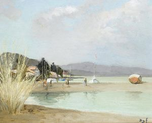 Marcel Dyf - Beach at Provence, (1975)