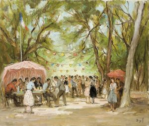 Marcel Dyf - Fair in Castle of Kerallier, (1969)