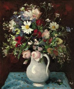 Marcel Dyf - Flowers in a White Jug, (1965)