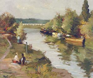 Marcel Dyf - Lovers on the River Bank at Amoureux, (1955)