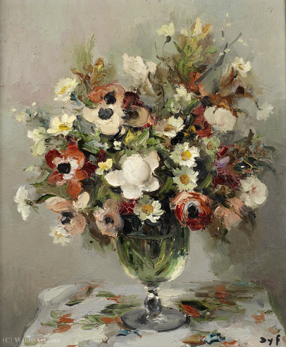 Roses and Anemones, (1950) by Marcel Dyf (1899-1985, France) | Painting Copy | WahooArt.com
