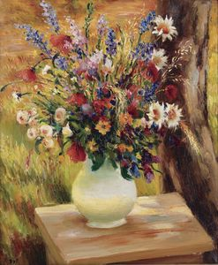 Marcel Dyf - The Vase with Wild Flowers, (1950)