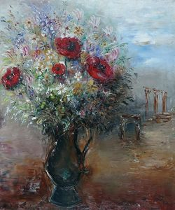 Reuven Rubin - Landscape with Vase of Flowers, (1936)