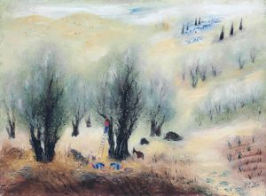 Reuven Rubin - Olive Trees in Galile, (1960)