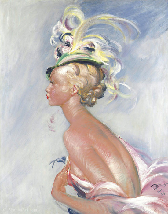 Fashionable Woman in Hat with Feathers, (1933s) by Jean-Gabriel Domergue (1889-1962)