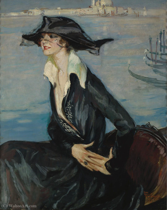 Woman in Black in Venice, (1919) by Jean-Gabriel Domergue (1889-1962) | Oil Painting | WahooArt.com