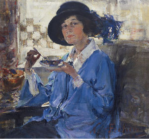 Nicolai Fechin - Tea in Santa Monica (Portrait of Mrs. Krag), (1923)