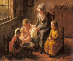 Bernard Pothast - Mother and Children in an Interior