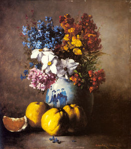 Germain Ribot - A Still Life with a Vase of Flowers and Fruit