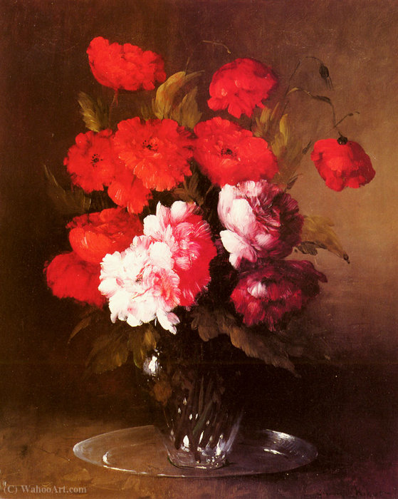 Pink Peonies and Poppies in a Glass Vase by Germain Ribot