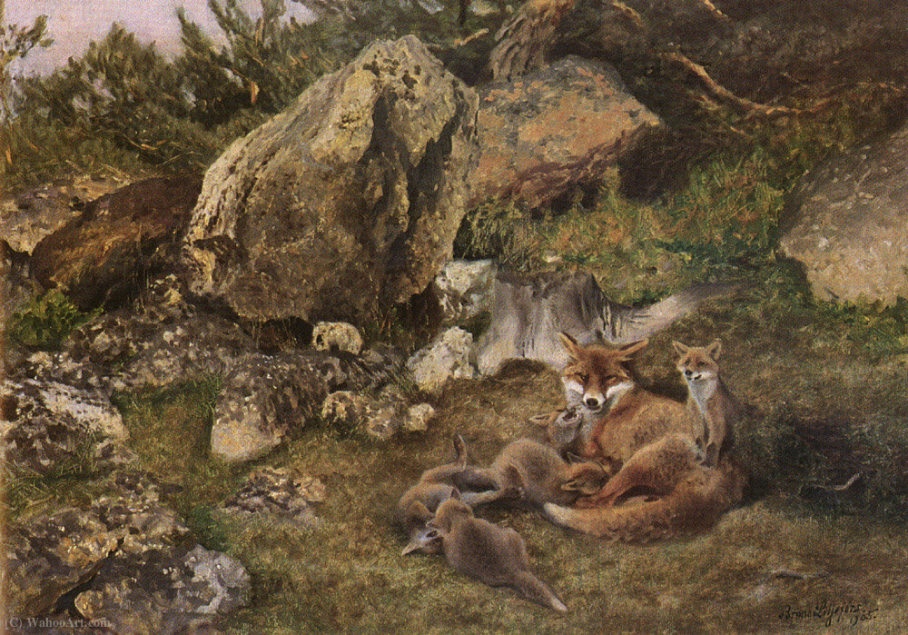 A Family of Foxes by Bruno Liljefors (1860-1939, Sweden) | Paintings Reproductions Bruno Liljefors | WahooArt.com
