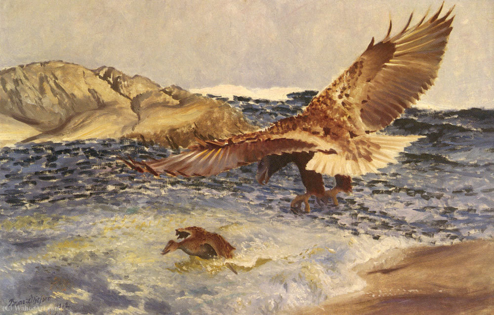 A sea eagle chasing eider duck by Bruno Liljefors (1860-1939, Sweden)