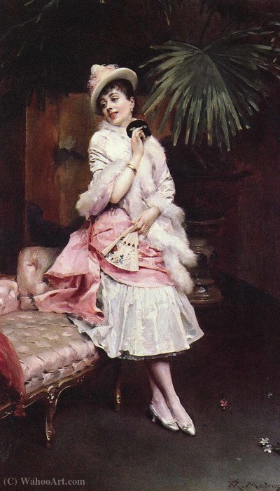 Lady with a mask by Raimundo De Madrazo Y Garreta (1841-1920, Italy) | WahooArt.com