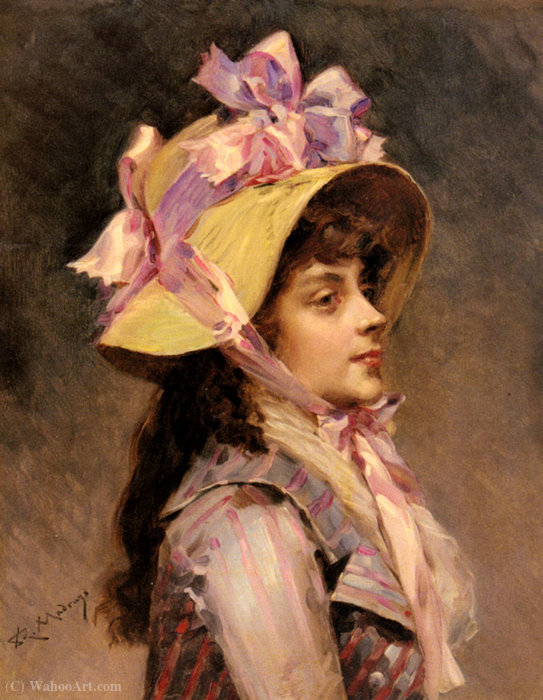 Portrait of a lady in pink ribbons by Raimundo De Madrazo Y Garreta (1841-1920, Italy)
