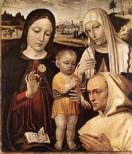 Ambrogio Da Fossano (Ambrogio Bergognone) - Madonna and Child, St Catherine and the Blessed Stefano Maco