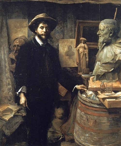 The Sculptor Jean Carries in his Atelier by Louise Breslau (1856-1927)