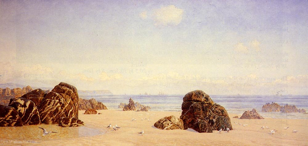 Yellow sands by John Brett (1831-1902) | Museum Quality Reproductions | WahooArt.com