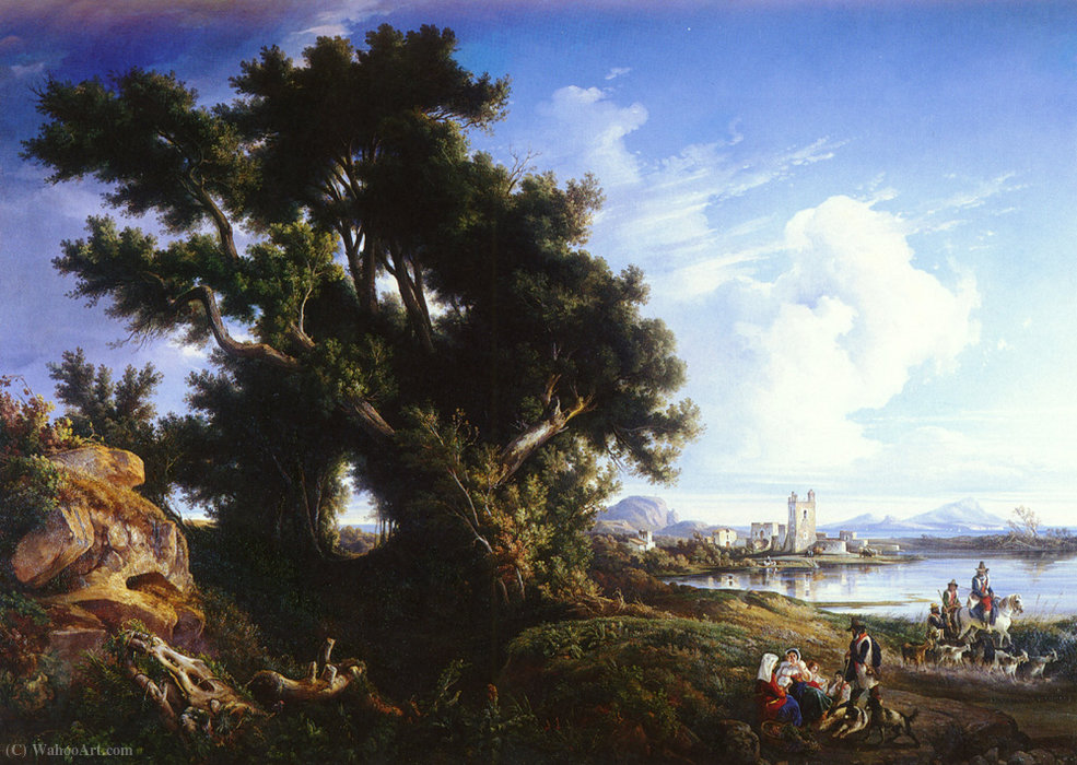 Landscape near naples with the isle of capri in the distance by Consalvo Carelli (1818-1900) | Paintings Reproductions Consalvo Carelli | WahooArt.com