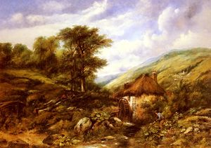 Frederick Waters (William) Watts - An overshot mill in a wooded valley