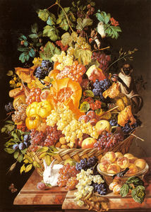 Leopold Zinnogger - A Basket of Fruit with Animals