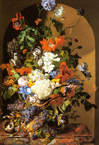 Leopold Zinnogger - A Still Life with Flowers and Grapes