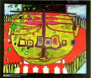 Friedensreich Hundertwasser - Three-Eyed Green Buddha with Hat