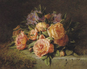 Adriana Johanna Haanen - Pink roses and rhododendrons on a marble ledge