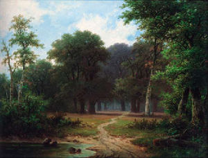 Hendrik Pieter Koekkoek - A path through a woodland