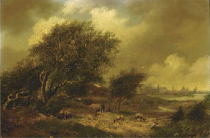 Hendrik Pieter Koekkoek - A wooded landscape with a city beyond