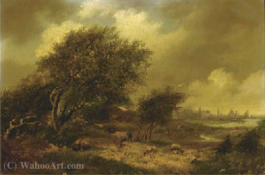 A wooded landscape with a city beyond by Hendrik Pieter Koekkoek