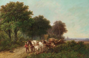 Hendrik Pieter Koekkoek - A woodlogger leading a four-in-hand