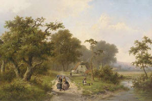Hendrik Pieter Koekkoek - Elegant ladies strolling in the country